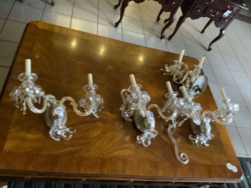 Set of 4 Antique Cut Crystal Wall Sconces