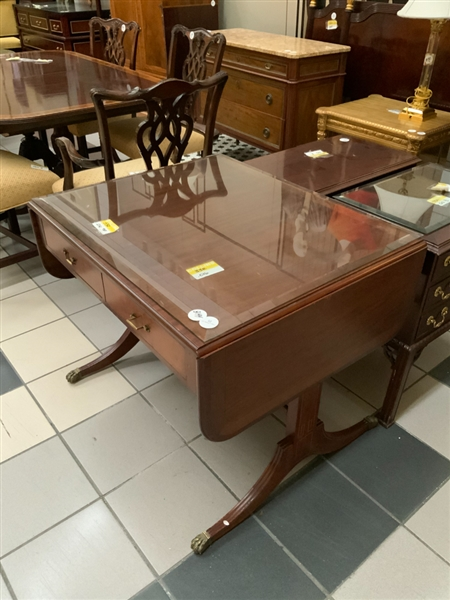Antique Regency Style Inlaid Drop Leaf Table