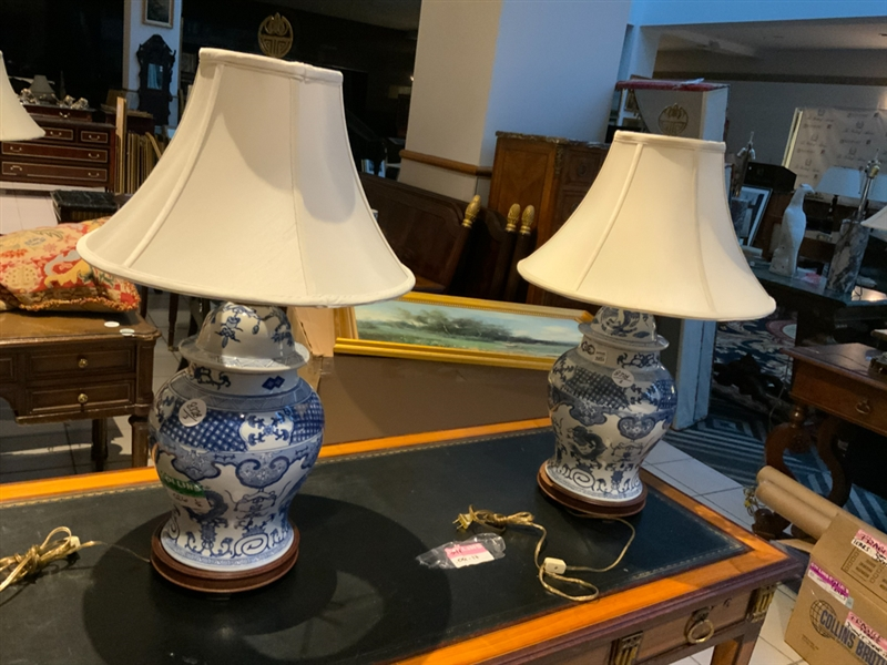 Pair of Chinese Ginger Jar Lamps