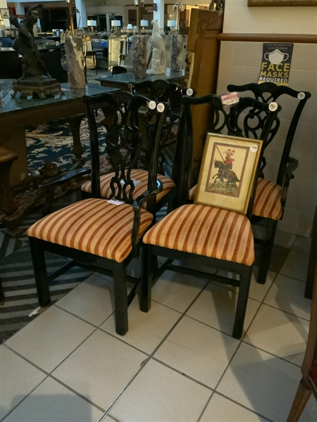 Set of (4) Chippendale Style Dining Chairs