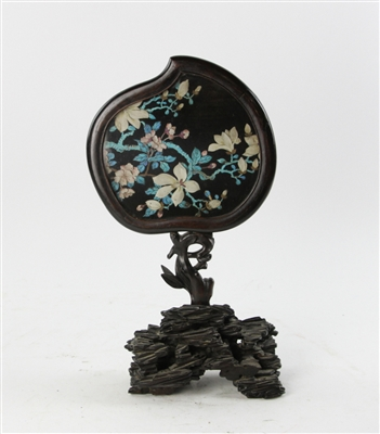 20th C Chinese King Fisher Hand Mirror