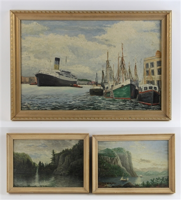 G.H. Bickell, Three Seascapes, Oil on Board