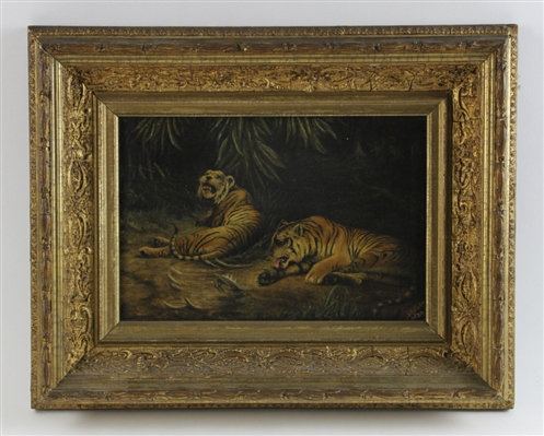 G.H. Bickell Oil on Canvas, Bengal Tigers