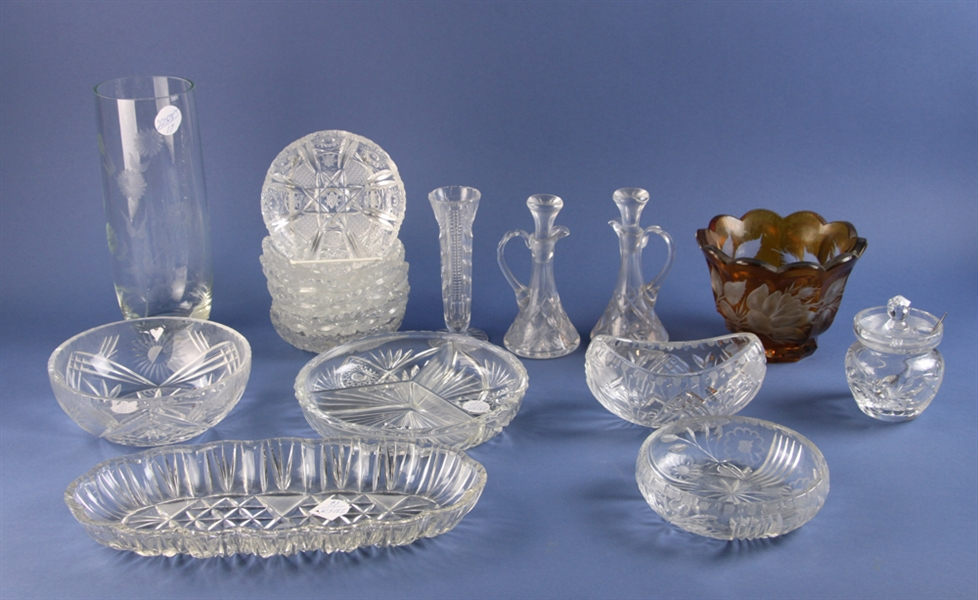 Assorted Crystal Pieces, Cut Glass Amber Vase