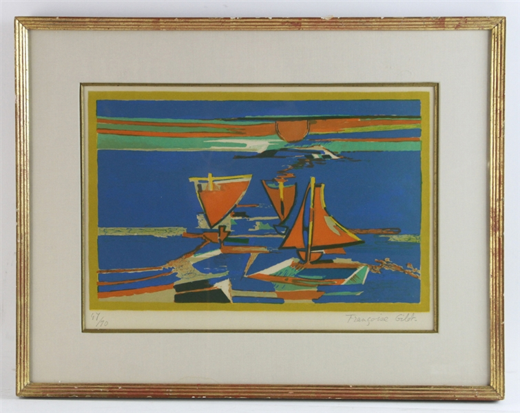 Francoise Gilot Lithograph, Red Sails in the Sunset