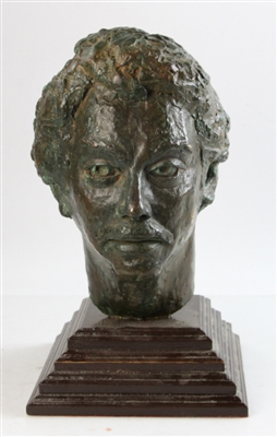 Bronze Sculpture of Male Head on Wood Base