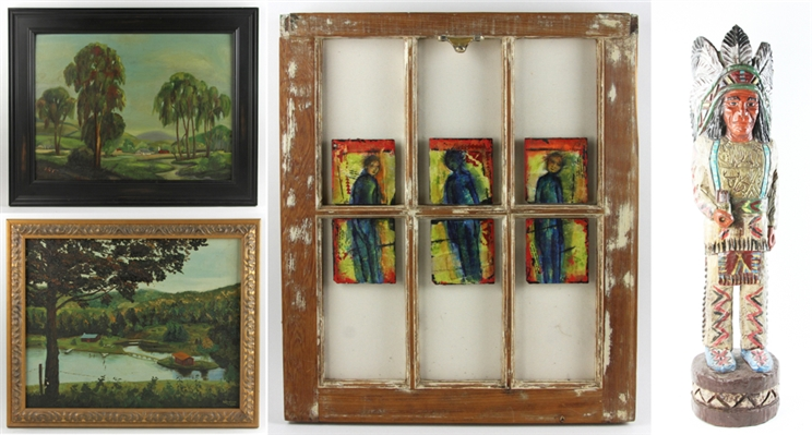 Two Paintings by Irving Rogow, a Window Triptych, and a Native American Carving