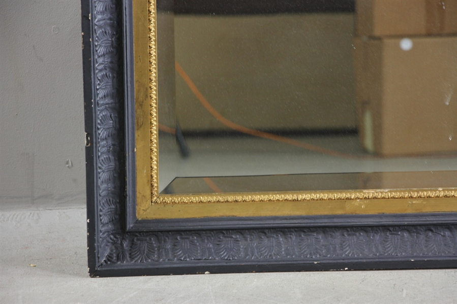 Beveled Glass Mirror in Wooden Frame