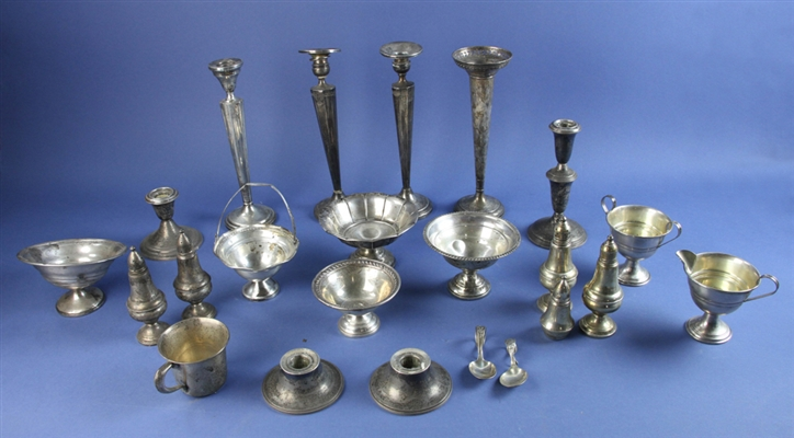 Group of Sterling Items, Candlesticks, Dishes