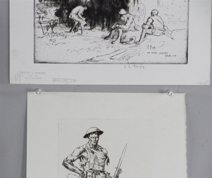 Lester Hornby WWI Era Etchings and Print