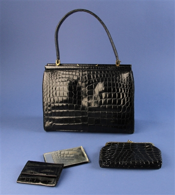 Black Crocodile-style Leather Hand Bag