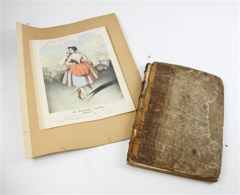 18thC English Music Folio and 19thC Lithograph