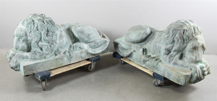 Pair of Reclining Bronze Lions