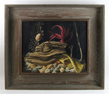 Ludwig Bruckman Painting, Still Life of Rocks and Driftwood