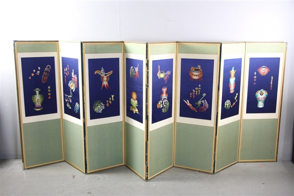 Chinese Painted 8 Panel Screen