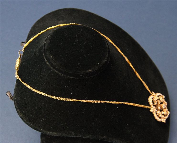 Gold Diamond and Pearl Pendant