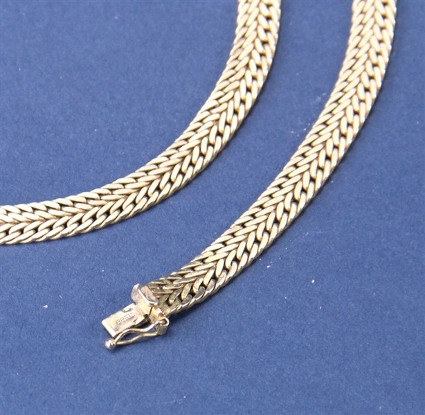 Italian Gold Herringbone Necklace