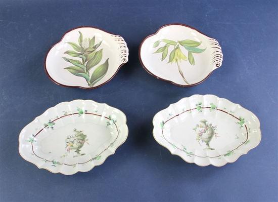 English Porcelain Tray Oval Plates and Floral Bowls