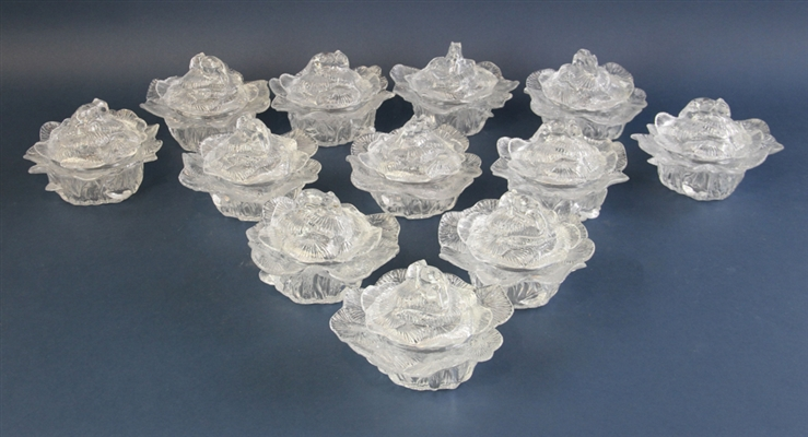 French Glass Covered Cabbage Dishes
