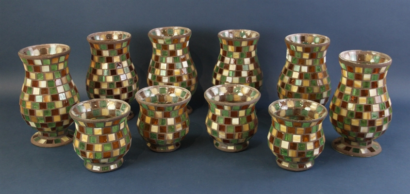 Mosaic Glass Vases for Candles