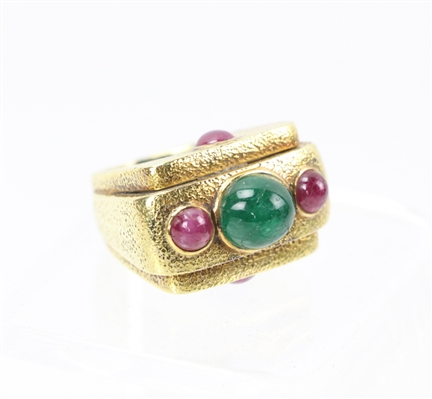 14k Gold Ring with Ruby and Emerald Cabochons