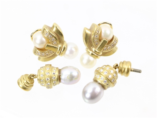14k/18k Gold Pearl and Diamond Earrings