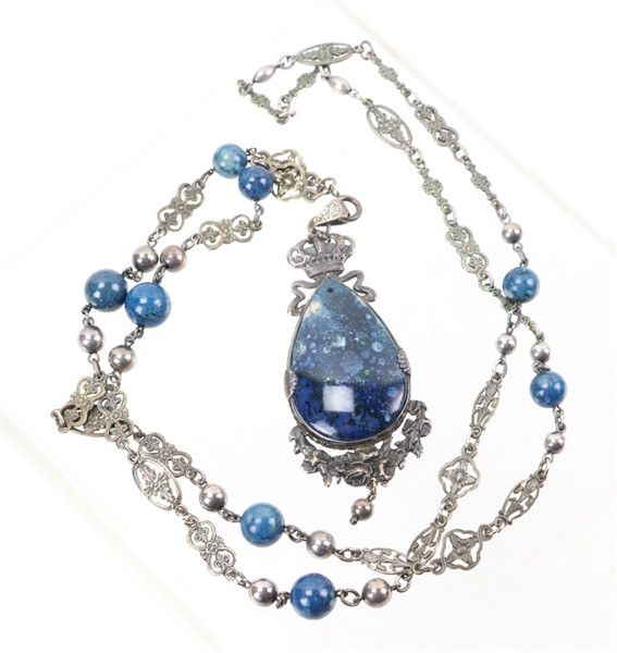 Antique Lapis and Sterling Necklace